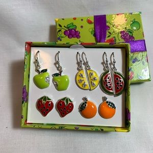 NWT gift set of 5 Fruit Charm Earrings